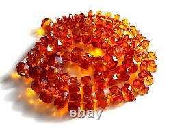 Antique Vintage Natural Baltic Amber Faceted Graduate Beads Long Necklace