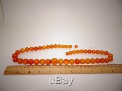 Antique Vintage Natural Baltic Egg Yolk Butterscotch Amber Necklace 60 Grams