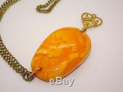 Antique Vintage Natural Baltic Egg Yolk Butterscotch Amber Pendant