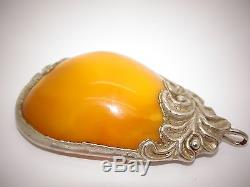 Antique Vintage Natural Baltic Egg Yolk Butterscotch Amber Pendant 27.7 Grams