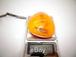 Antique Vintage Natural Baltic Egg Yolk Butterscotch Amber Pendant 38 Grams