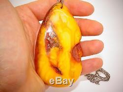 Antique Vintage Natural Baltic Egg Yolk Butterscotch Amber Pendant 50.4 Grams