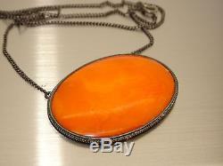 Antique Vintage Natural Baltic Egg Yolk Butterscotch Amber Pendant EXCLUSIVE