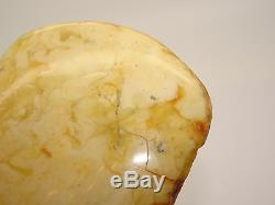 Antique Vintage Natural Baltic White Rare Amber Brooch 49.3 Grams