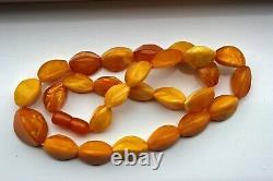 Antique Vintage Natural Butterscotch Egg Yolk Baltic Amber Bead Necklace 38 gr