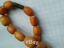 Antique Vintage Natural Butterscotch Egg Yolk Baltic Amber Bead Necklace 49 gr