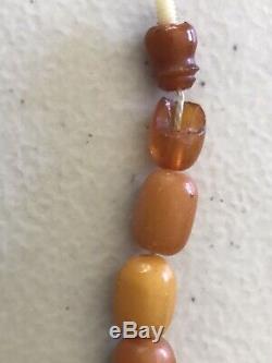 Antique Vintage Natural Butterscotch Egg Yolk Baltic Amber Bead Necklace 56.48 G