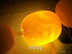 Antique Vintage Natural Butterscotch Egg Yolk Baltic Amber Bead Necklace 56 gr