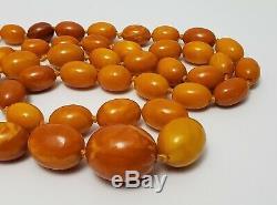 Antique Vintage Natural Butterscotch Egg Yolk Baltic Amber Bead Necklace 82 gr