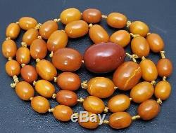 Antique Vintage Natural Butterscotch Egg Yolk Baltic Amber Bead Necklace 94 gr