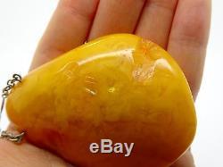 Antique Vintage Natural Egg Yolk Butterscotch Baltic Amber Pendant