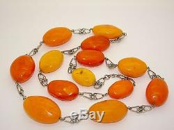Antique Vintage Silver Natural Baltic Egg Yolk Butterscotch Amber Necklace