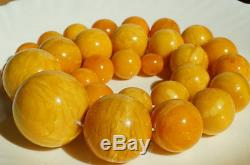 Antique egg yolk natural baltic amber stone necklace 234. G