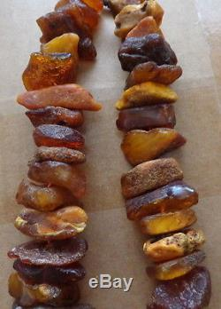 Antique huge Natural raw butterscotch Baltic Amber Beads Necklace # 13s
