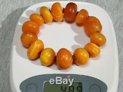 Antique natural Baltic amber bracelet 49 grams, men women round beads bracelet
