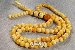 Antique natural Baltic amber marble Mala 108 beads Rosary necklace 26 grams