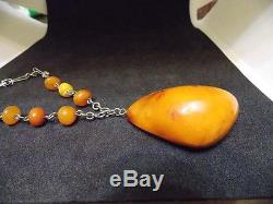 Antique natural Baltic amber stone necklace toffee egg yolk pendant