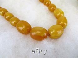 Antique natural Butterscotch Egg Yolk Baltic Amber Oval Beads Necklace 82 Gr