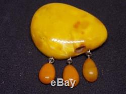 Antique natural amber stone brooche 24g, king, egg yolk Baltic amber