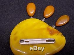 Antique natural amber stone brooche 24g, king, egg yolk Baltic amber
