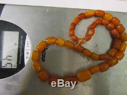 Antique natural amber stone necklace butterscotch, toffee, yolk Baltic amber 45g