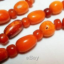 Antique natural butterscotch egg yolk Baltic amber bead necklace
