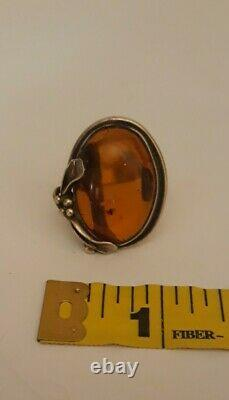 Artisan Handmade Genuine Baltic Amber Sterling Silver Art Nevou Deco 925 Ring