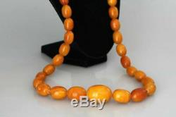 Authentic Antique Natural Baltic Amber Butterscotch Egg Yolk Beads Necklace 118g