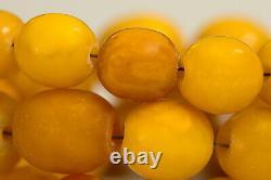 BALTIC AMBER 100% NATURAL ANTIQUE NECKLACE royal egg yolk butterscotch