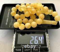 BALTIC AMBER Islamic Prayer 33 Round Yellow Beads 100% Natural Amber 10.5 mm