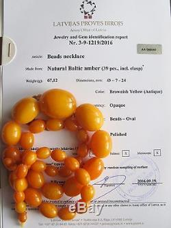 BALTIC AMBER NECKLACE 67,12 gr NATURAL ANTIQUE BUTTERSCOTCH EGG YOLK OVAL