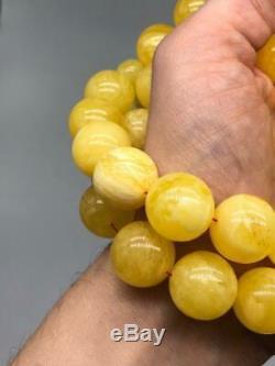 BALTIC AMBER ROSARY 162g ROUND misbah tesbih 45 prayer 18d beads 100% NATURAL