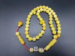 BALTIC AMBER ROSARY 23.6 gr 8.9 mm BEADS ONE STONE 45 beads R19