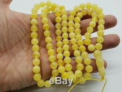 BALTIC AMBER ROSARY 36.9 gr 8.7 mm BEADS ONE STONE 99 beads R61