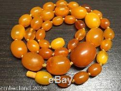 BEAUTIFUL ANTIQUE NATURAL BALTIC AMBER BEADS NECKLACE 22 gr