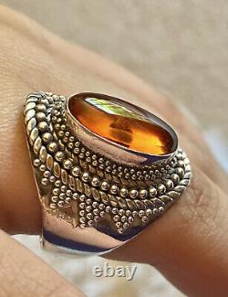 Bali Baltic Amber BA 925 Sterling Silver Suarti Designer Ring Sz 9 With Insect