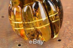 Baltic Amber Bracelet Lemon green color Massive natural beads Handmade Jewelry