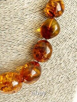 Baltic Amber Natural Necklace Big Olive Round Bead Elegant Cognac Color 70.8 g