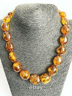 Baltic Amber Natural Necklace Massive Olive Round Bead Elegant Cognac Color 59 g