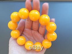Baltic Amber bracelet, round beads 20mm 59.51 grams butterscotch color AA00