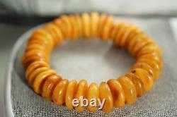 Baltic natural amber yellow color beads bracelet 29 g