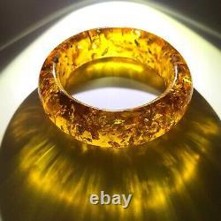 Bangle seamless cuff bracelet Natural Baltic amber 1pc 42gr
