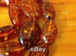 Beautiful 21 Antique Genuine Natural Egg Yolk Baltic Amber Stone Necklace 89g