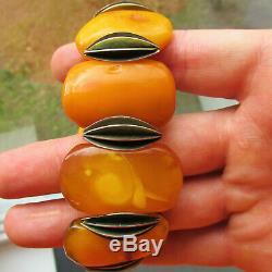 Beautiful Antique Natural Butterscotch Egg Yolk Baltic Amber Bracelet 67.7g