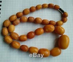 Beautiful Antique Natural Butterscotch Egg Yolk Baltic Amber Necklace 49 Gr