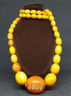 Beautiful Antique Natural Butterscotch Egg Yolk Baltic Amber Necklace 68 G