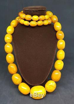 Beautiful Antique Natural Butterscotch Egg Yolk Baltic Amber Necklace 97 G