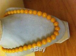 Beautiful Antique Natural Egg Yolk Butter Scotch Baltic Amber Beads Necklace 53g