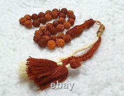 Beautiful Engraved Baltic Amber Islamic Prayer Rosary Tasbih 33 Beads 12mm 34 gr