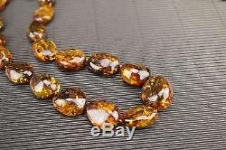 Beautiful Genuine Natural Baltic Amber Necklace Round Brown Polished Beads Screw